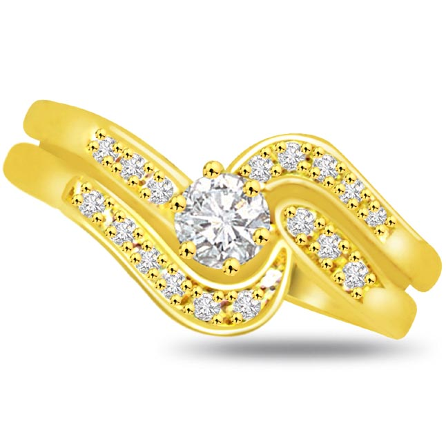 Shimmer Diamond Gold rings SDR783