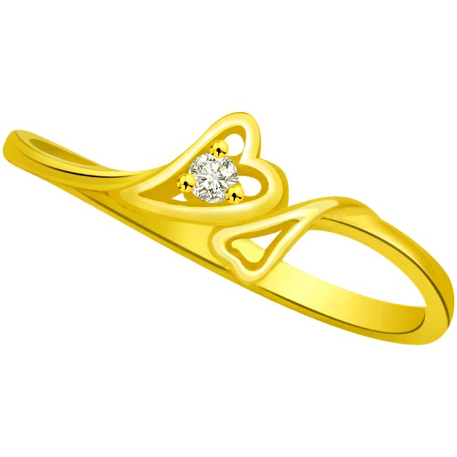 Diamond Heart Shape Gold rings SDR785