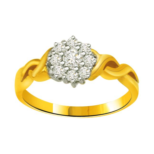 Flower Shape Diamond Gold rings SDR796
