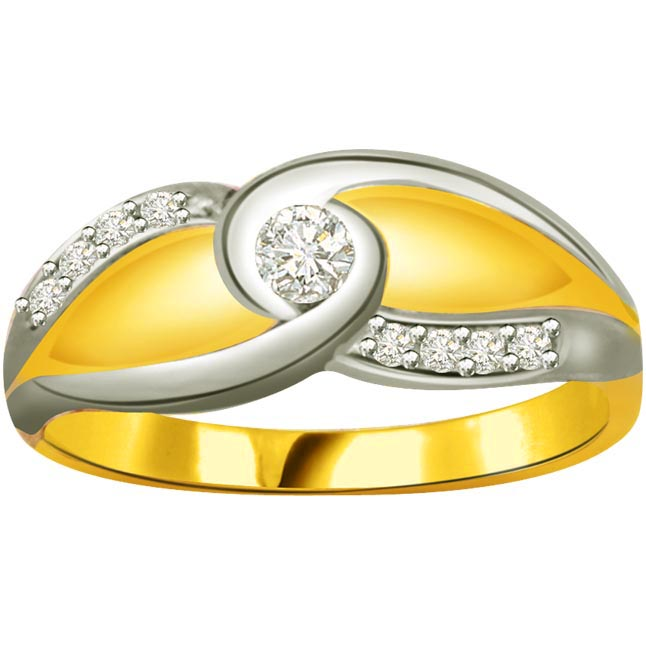 Two -Tone Diamond Gold rings SDR799 -White Yellow Gold rings