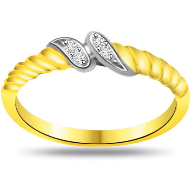 Two -Tone Diamond Gold rings SDR801 -White Yellow Gold rings