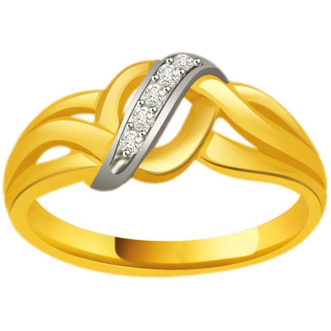 Two -Tone Diamond Gold rings SDR804 -White Yellow Gold rings