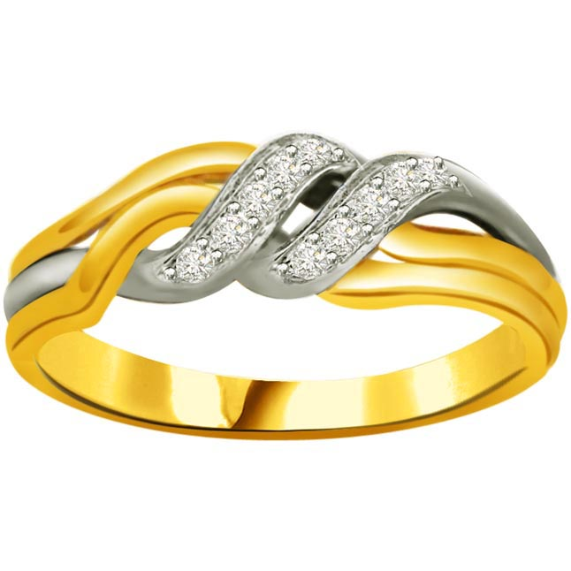 Two -Tone Diamond Gold rings SDR806 -White Yellow Gold rings