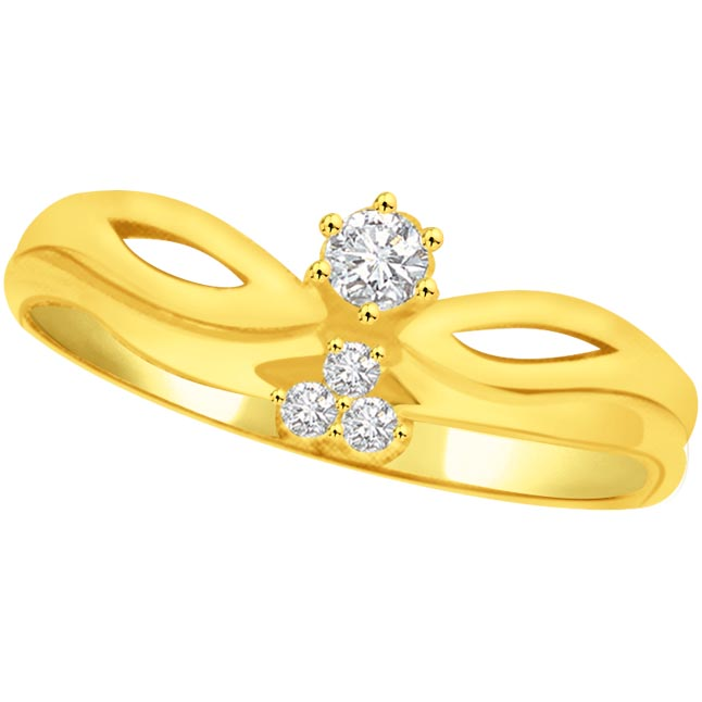 Trendy Diamond Gold rings SDR820