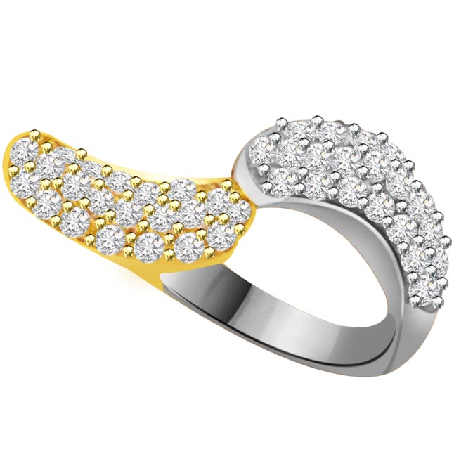 Two -Tone Diamond Gold rings SDR822 -White Yellow Gold rings