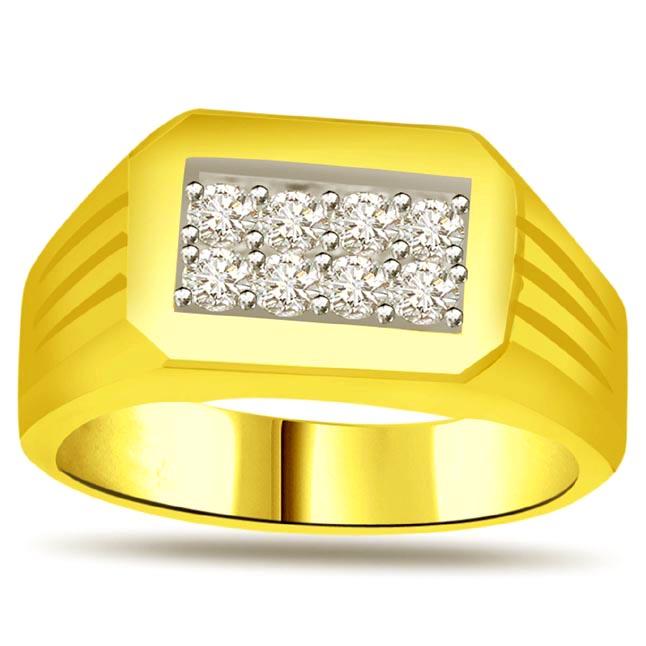 Fine Diamond 18k Gold Men's rings