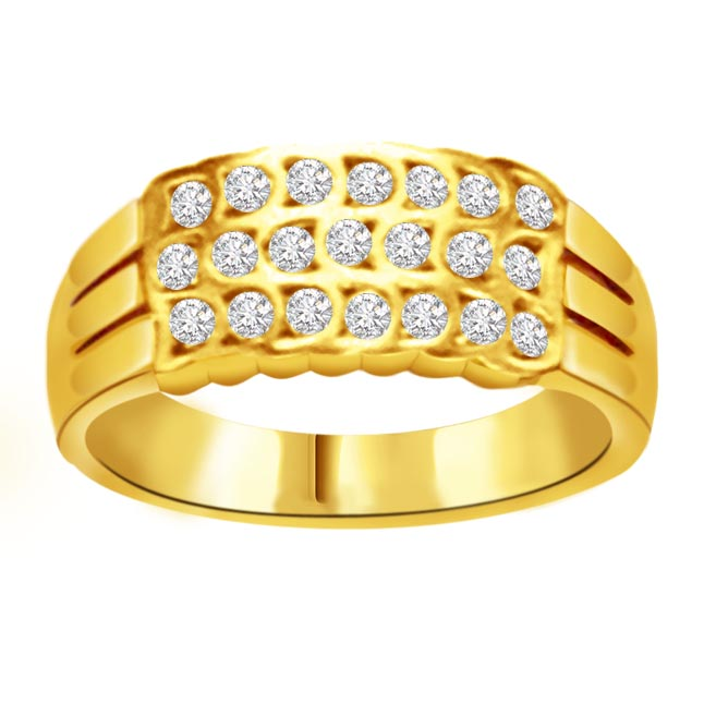 Trendy Diamond Gold rings SDR827