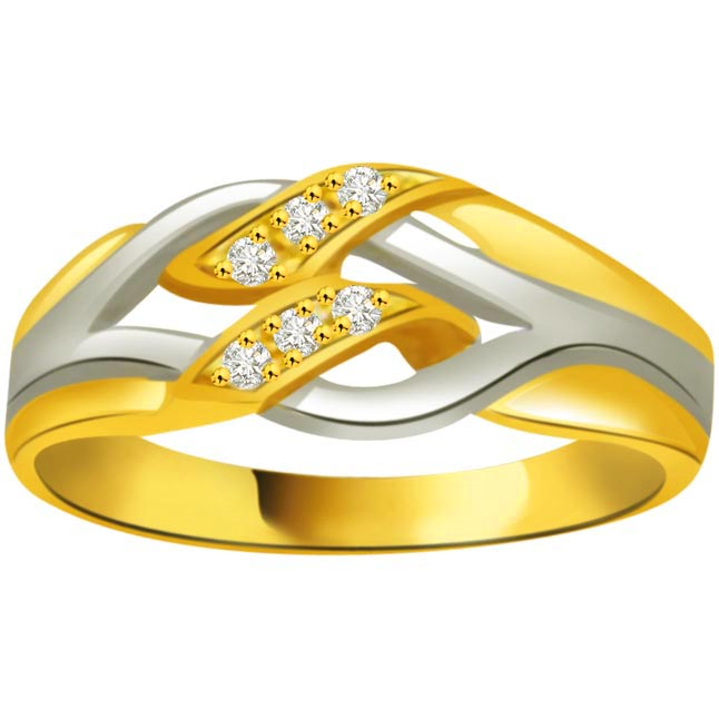 Two -Tone Diamond Gold rings SDR829 -White Yellow Gold rings