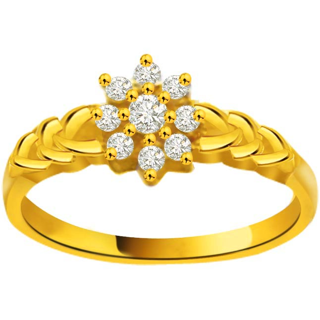 Flower Shape Diamond Gold rings SDR831