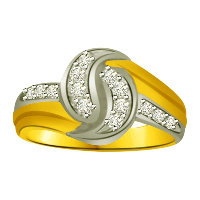 Two -Tone Diamond Gold rings SDR833 -White Yellow Gold rings