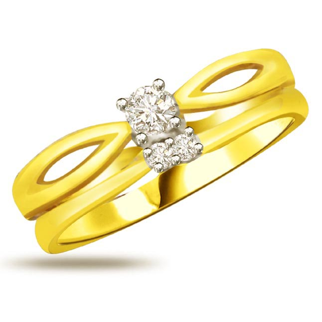 Trendy Diamond Gold rings SDR837
