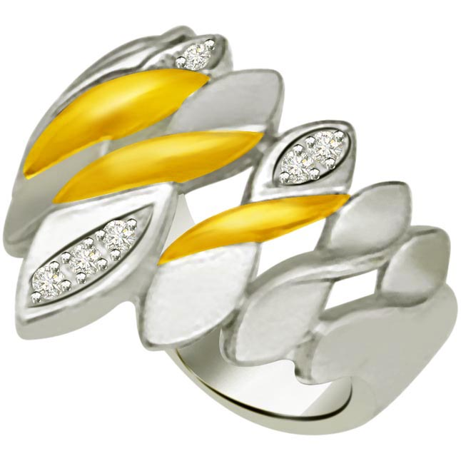 Two -Tone Diamond Gold rings SDR844 -White Yellow Gold rings