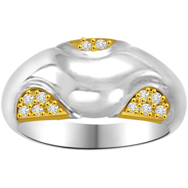 Two -Tone Diamond Gold rings SDR845 -White Yellow Gold rings