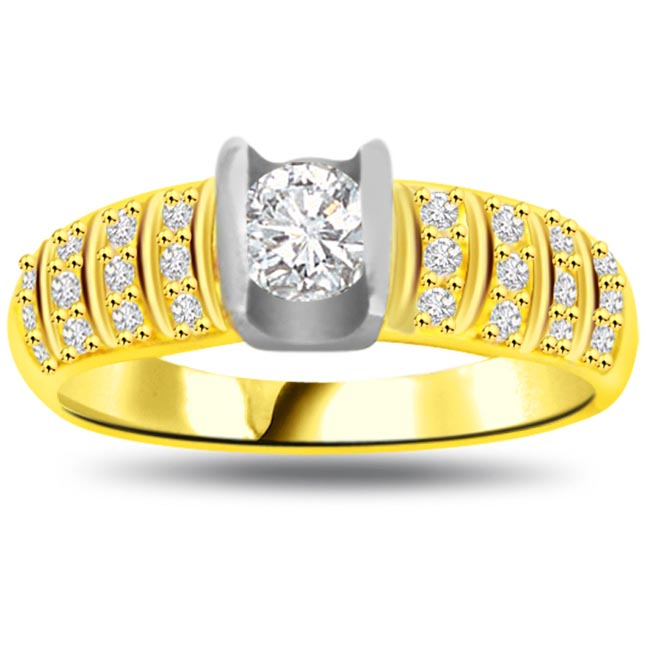 Two -Tone Diamond Gold rings SDR846 -White Yellow Gold rings