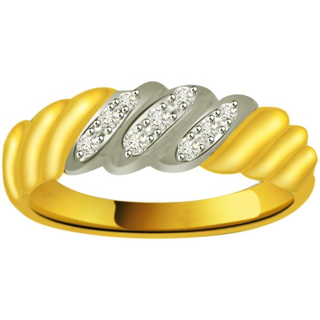 Two -Tone Diamond Gold rings SDR849 -White Yellow Gold rings