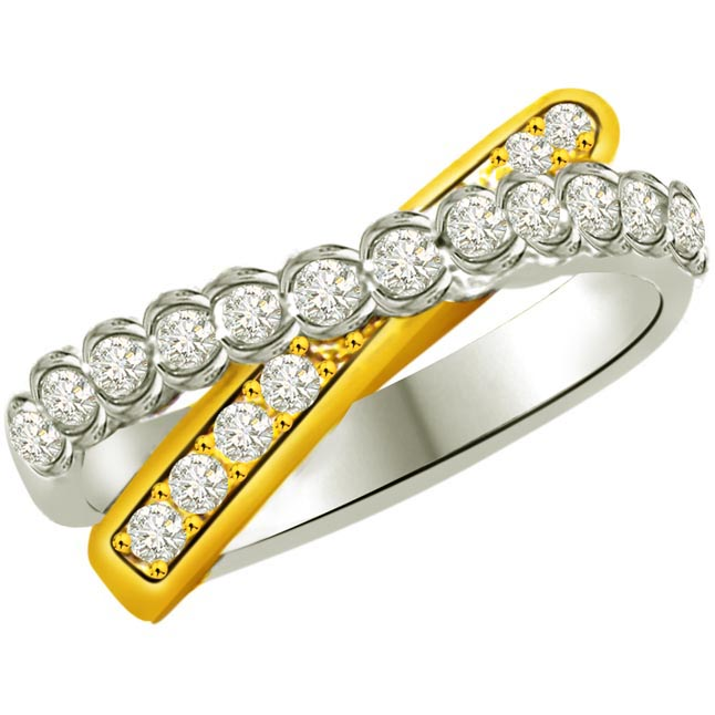 Trendy Diamond Gold rings SDR853 -2 Tone Half Eternity