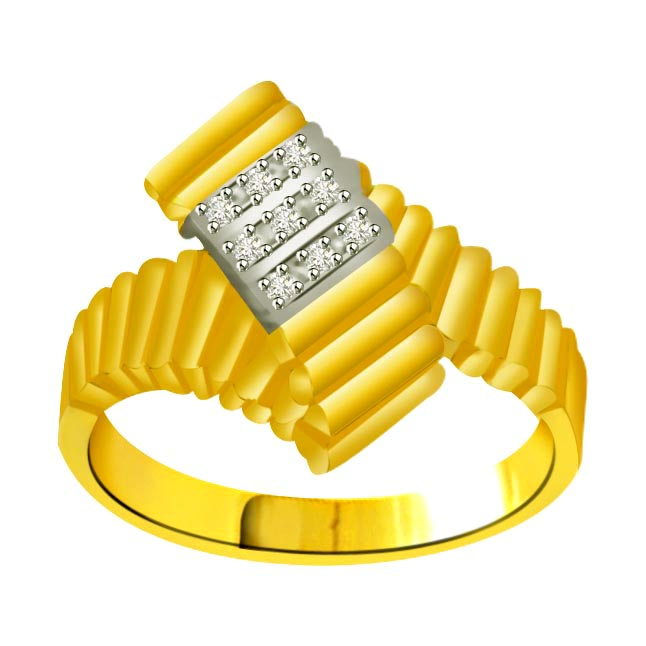 Two -Tone Diamond Gold rings SDR858 -White Yellow Gold rings
