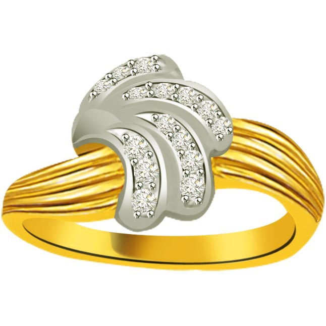 Classic Diamond Gold rings SDR861 -White Yellow Gold rings