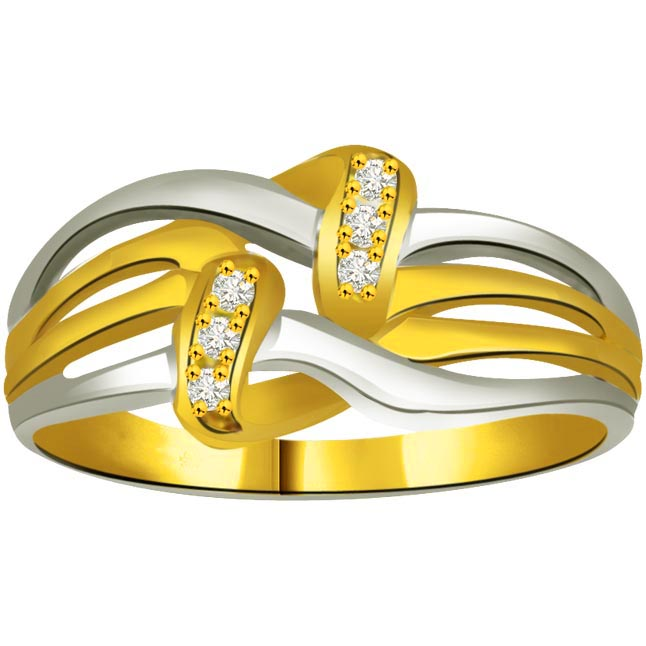 Two -Tone Diamond Gold rings SDR864 -White Yellow Gold rings