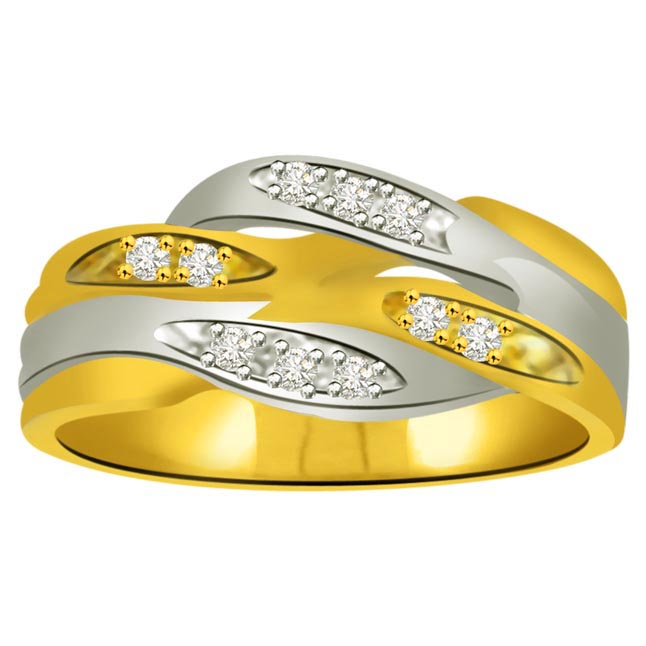 Pretty Diamond Gold rings SDR865 -White Yellow Gold rings