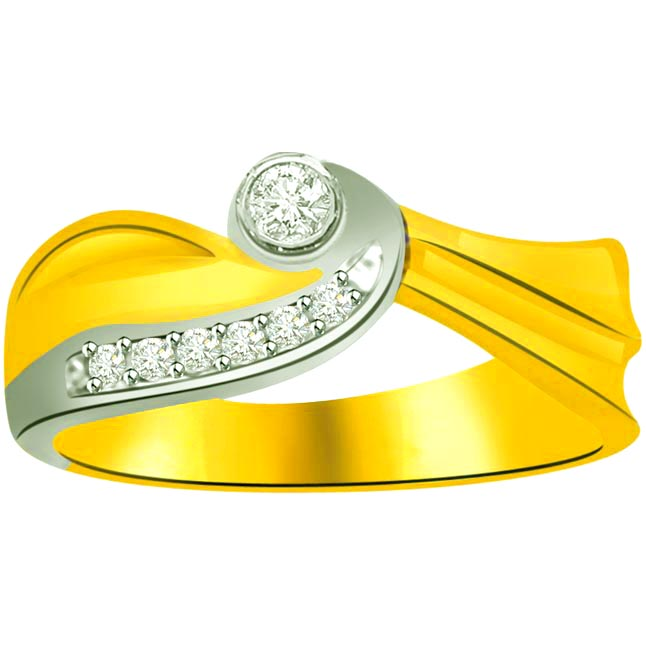 Two -Tone Diamond Gold rings SDR870 -White Yellow Gold rings