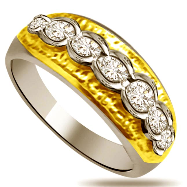 Two -Tone Diamond Gold rings SDR871 -White Yellow Gold rings