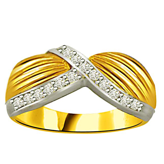 Classic Diamond Gold rings SDR875 -White Yellow Gold rings