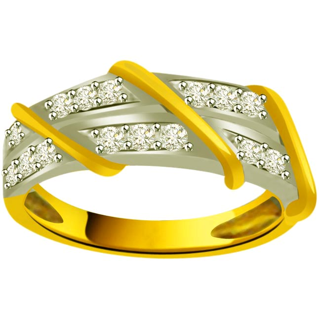 Pretty Diamond Gold rings SDR876 -White Yellow Gold rings