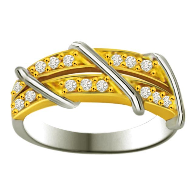 Shimmer Diamond Gold rings SDR878 -White Yellow Gold rings