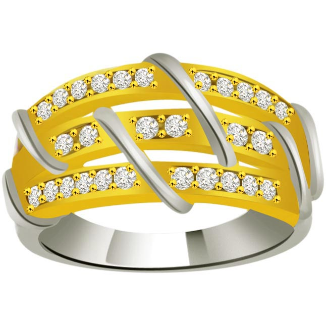 Pretty Diamond Gold rings SDR879 -2 Tone Half Eternity