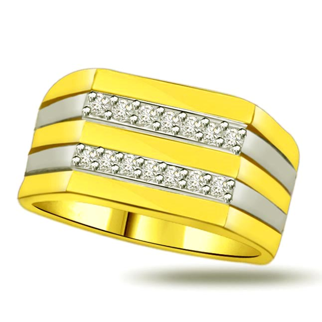 Shimmer Diamond Gold rings SDR890 -2 Tone Half Eternity