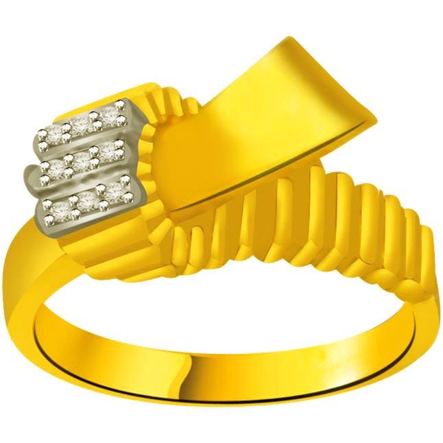 Trendy Diamond Gold rings SDR892 -White Yellow Gold rings