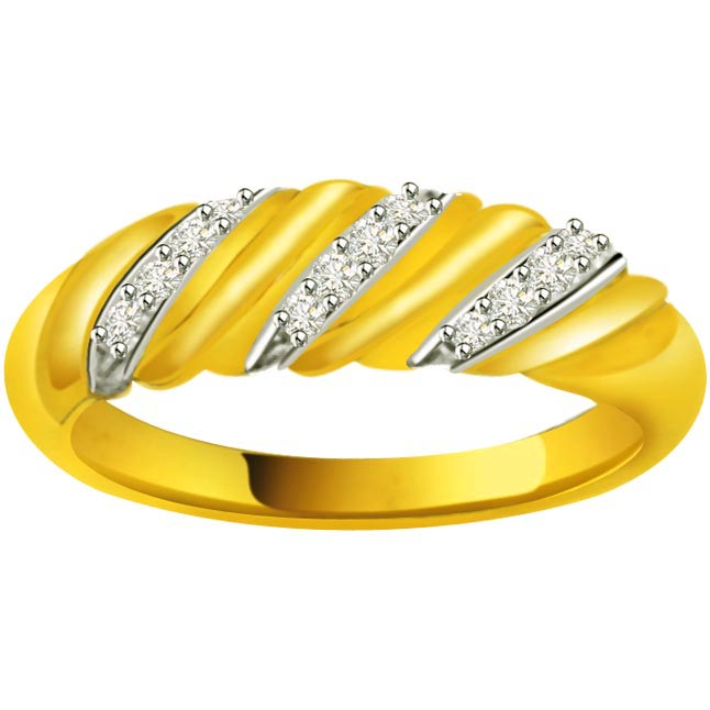 Pretty Diamond Gold rings SDR898 -White Yellow Gold rings