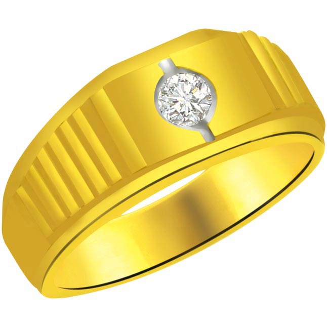 0.07 cts Diamond Men's rings -Solitaire rings