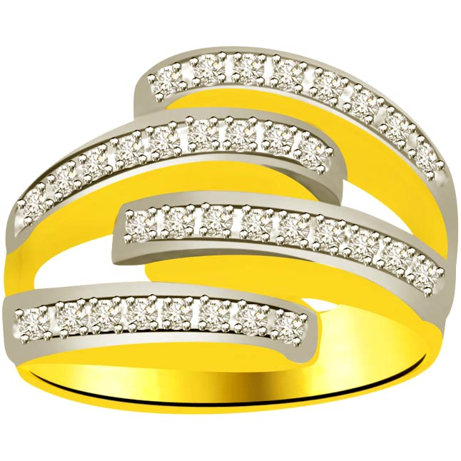 Trendy Diamond Gold rings SDR912 -White Yellow Gold rings