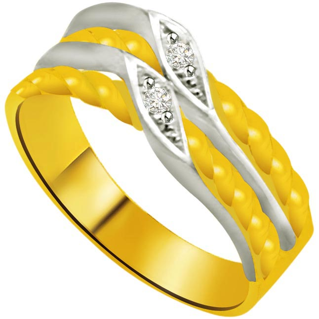 Shimmer Diamond Gold rings SDR920 -White Yellow Gold rings