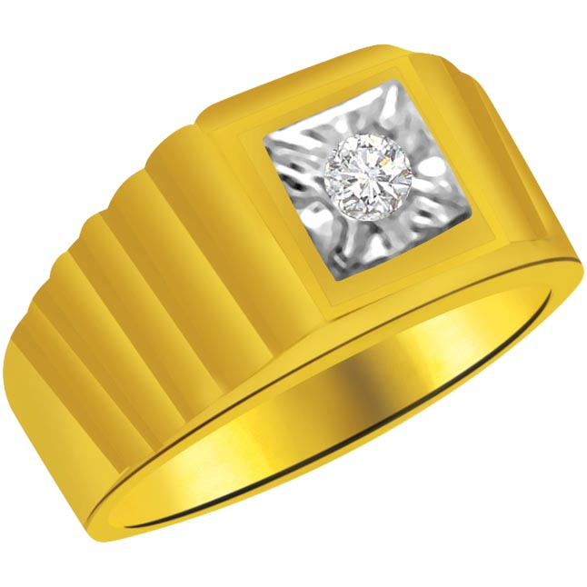 Solitaire Diamond Gold rings SDR924 -Two Tone Solitaire