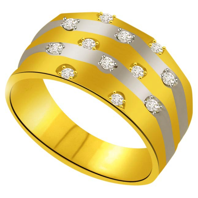 Classic Diamond Gold rings SDR941 -2 Tone Half Eternity