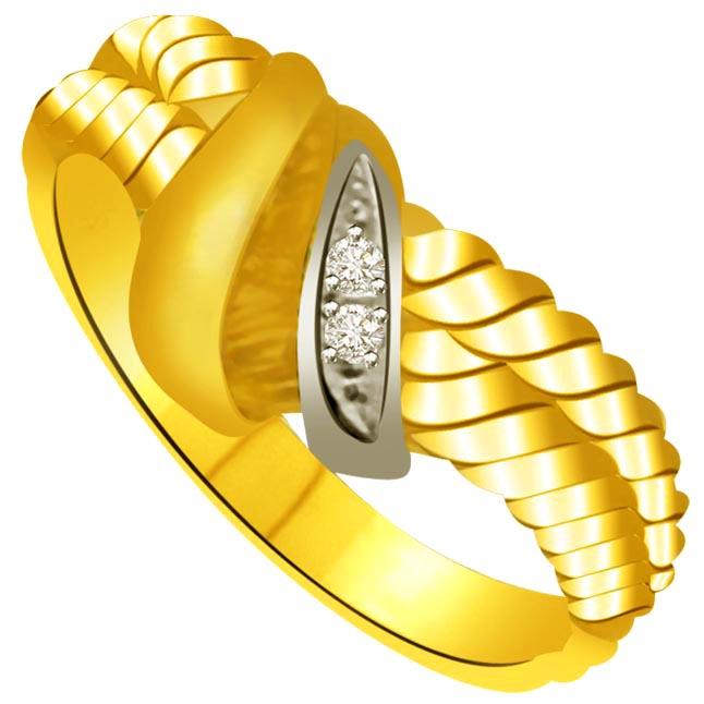 Two -Tone Diamond Gold rings SDR942 -White Yellow Gold rings