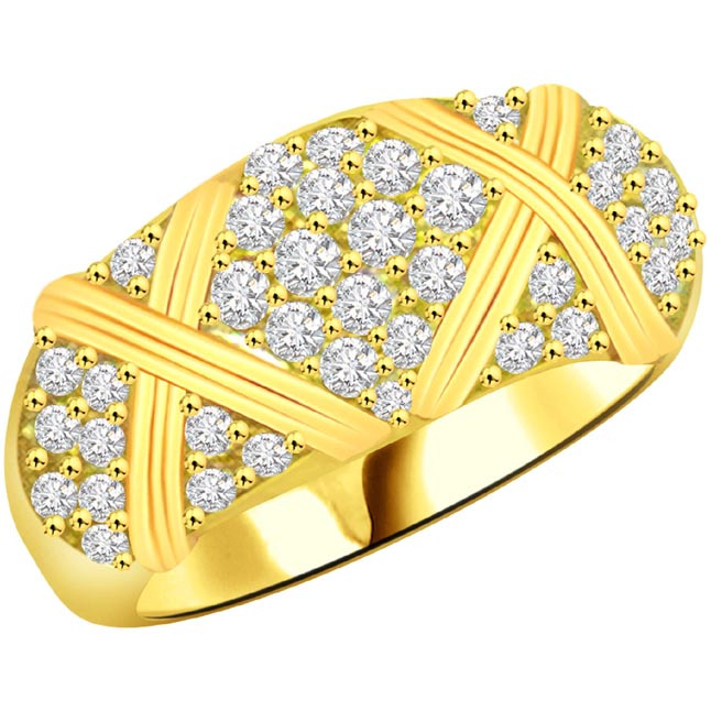 Trendy Diamond Gold rings SDR949