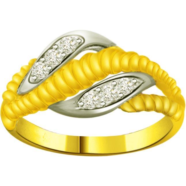 Two -Tone Diamond Gold rings SDR952 -White Yellow Gold rings