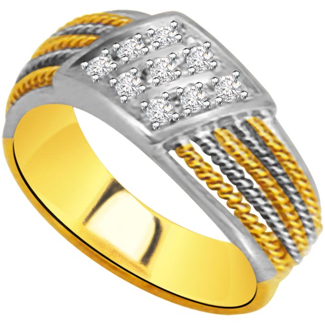Trendy Diamond Gold rings SDR953 -White Yellow Gold rings