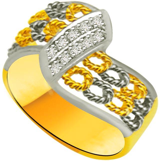 Pretty Diamond Gold rings SDR954 -White Yellow Gold rings