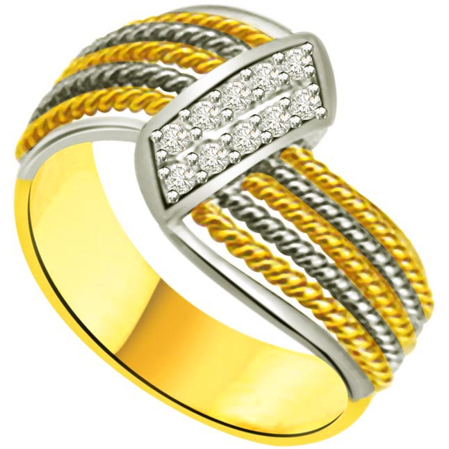 Shimmer Diamond Gold rings SDR955 -White Yellow Gold rings