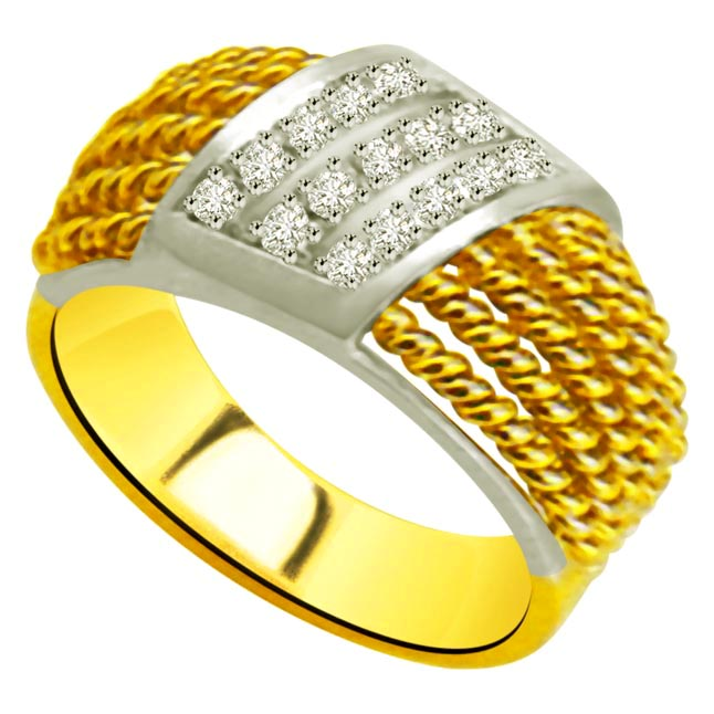 Trendy Diamond Gold rings SDR956 -White Yellow Gold rings