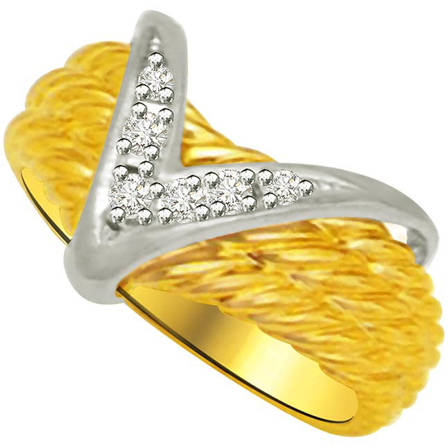 V Shape Diamond Gold rings SDR957 -White Yellow Gold rings