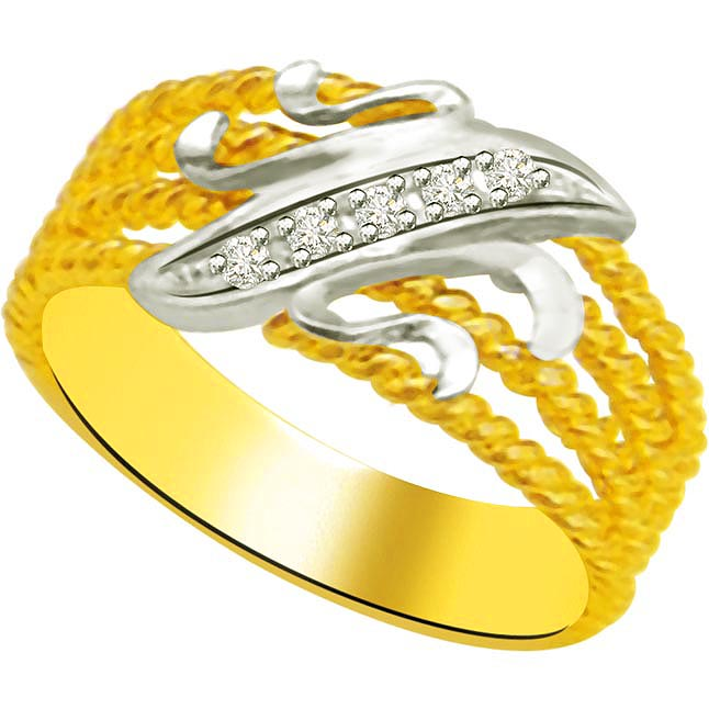 Two -Tone Diamond Gold rings SDR958 -White Yellow Gold rings