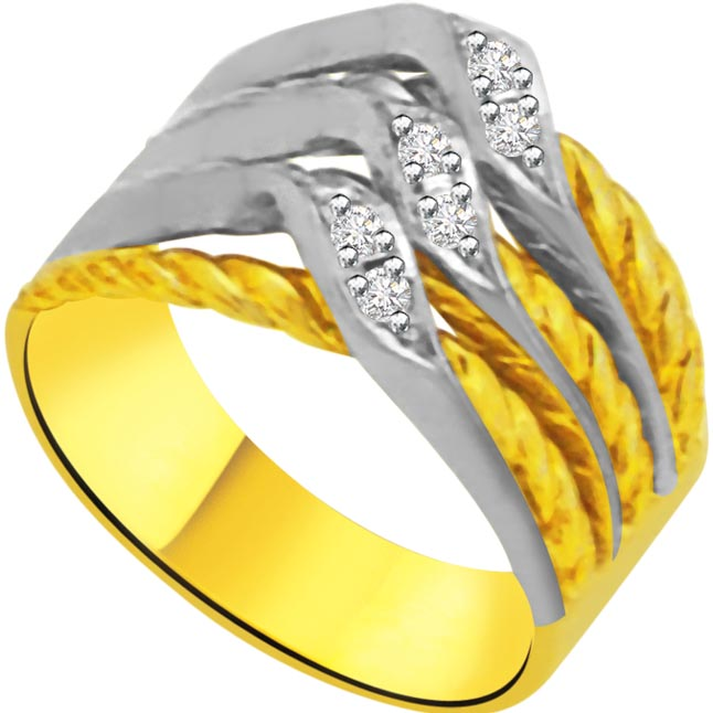Two -Tone Diamond Gold rings SDR959 -White Yellow Gold rings