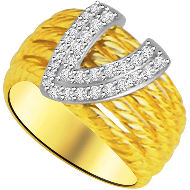 V Shape Diamond rings in 18K Gold -White Yellow Gold rings