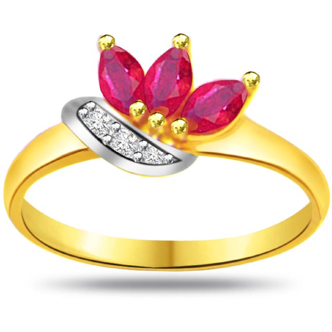 Diamond & Marquise Ruby rings SDR962